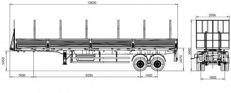 полуприцеп бортовой гп 35 тонн ссу 1450 на двухскате